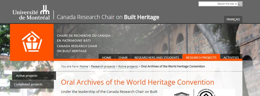 Oral Archives of the World Heritage Convention